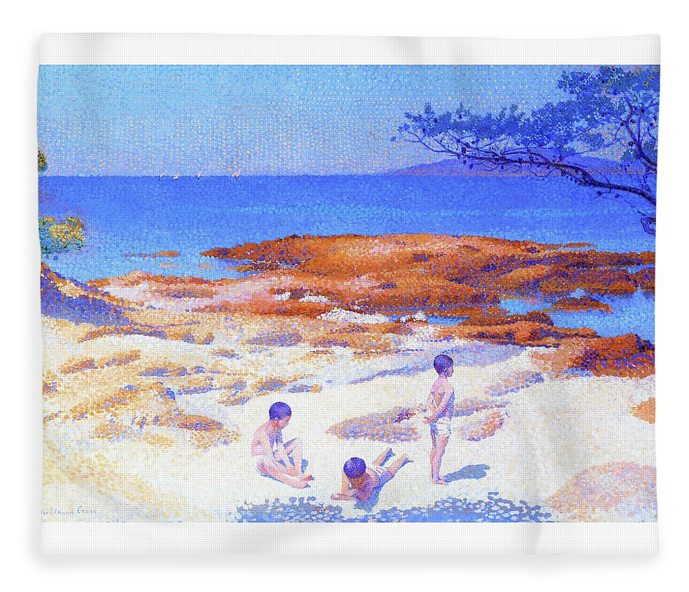 Beach At Cabasson Fleece Blanket featuring the painting Beach At Cabasson - Digital Remastered Edition by Henri Edmond Cross
