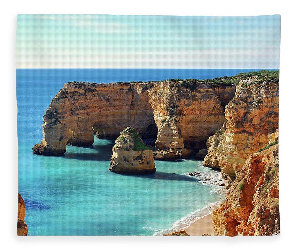Algarve Fleece Blanket featuring the photograph Beach by José Luís Pulido