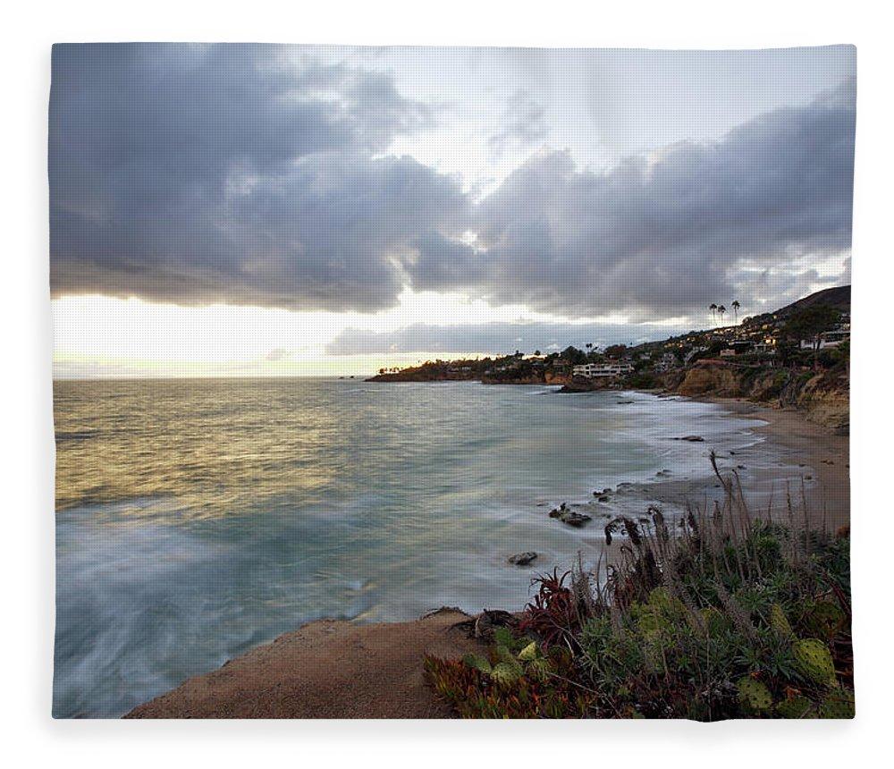 Laguna Beach Fleece Blanket featuring the photograph Beautiful Laguna Coast After Sunset by Ekash