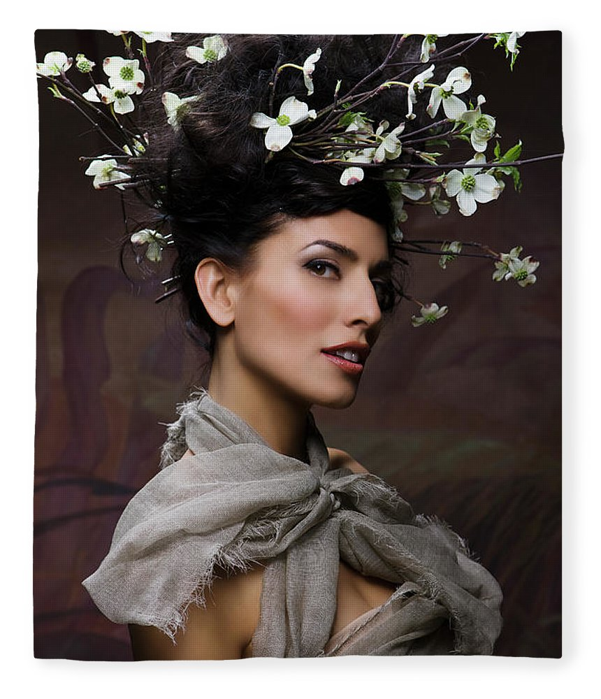 People Fleece Blanket featuring the photograph Beauty Portrait Of Woman Entwined In by Ralf Nau