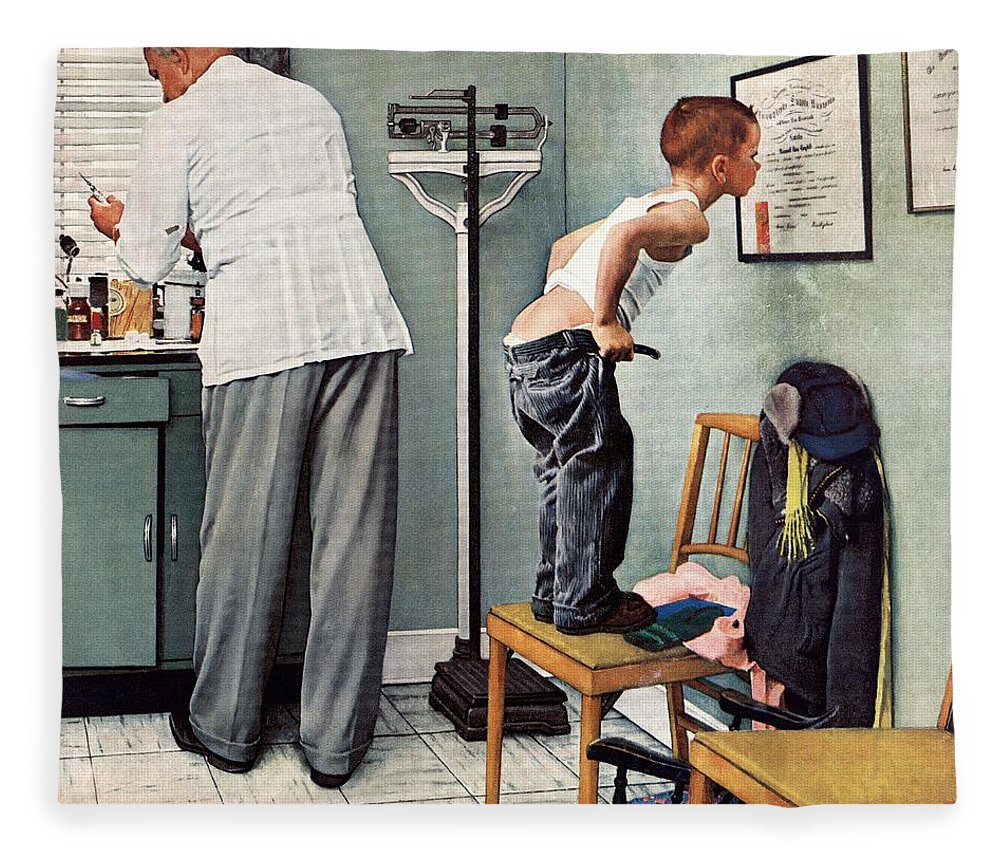 Bottoms Fleece Blanket featuring the drawing Before The Shot by Norman Rockwell