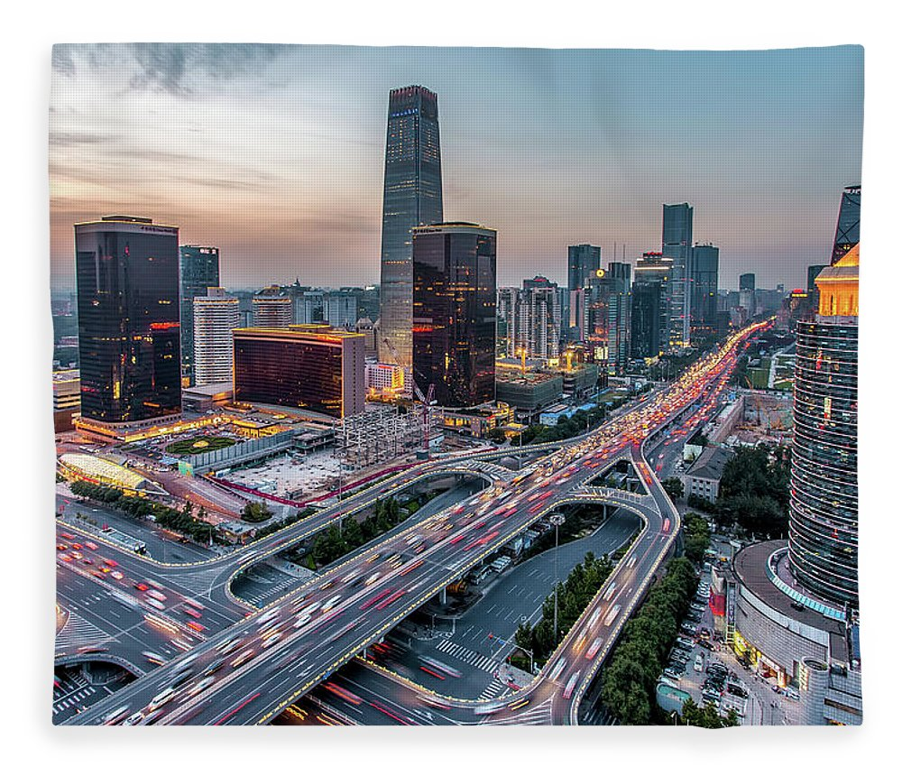 Downtown District Fleece Blanket featuring the photograph Beijing Central Business District by Dukai Photographer