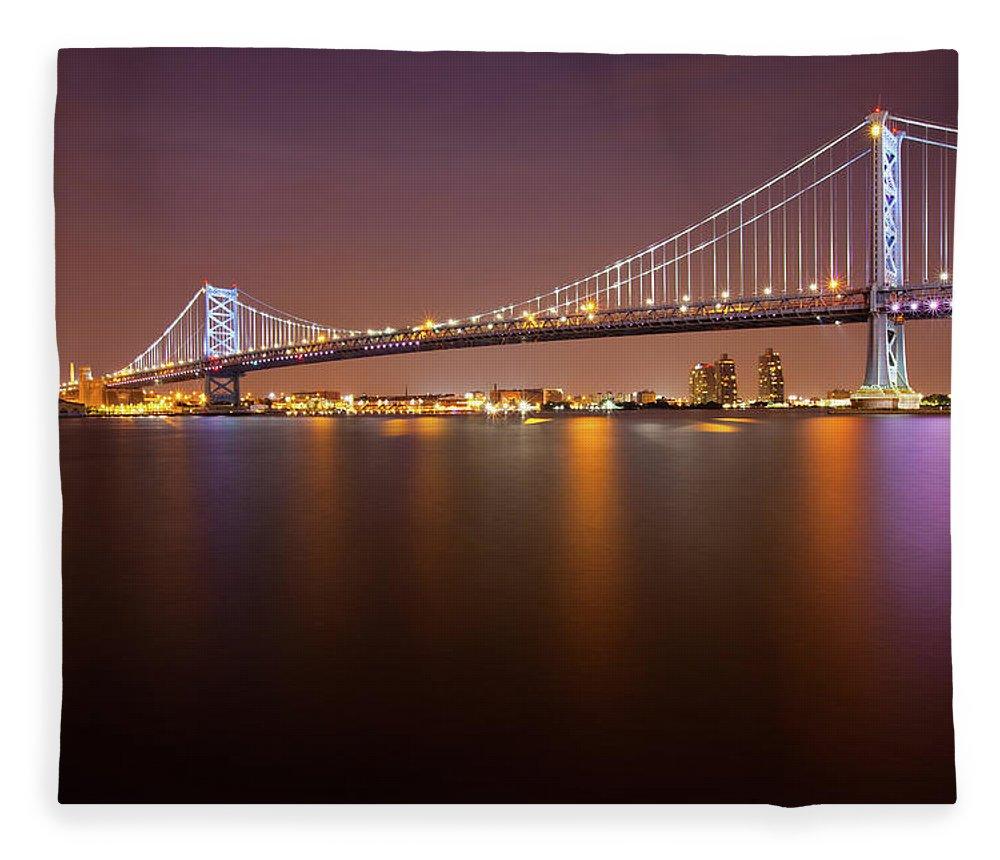 Built Structure Fleece Blanket featuring the photograph Ben Franklin Bridge by Richard Williams Photography