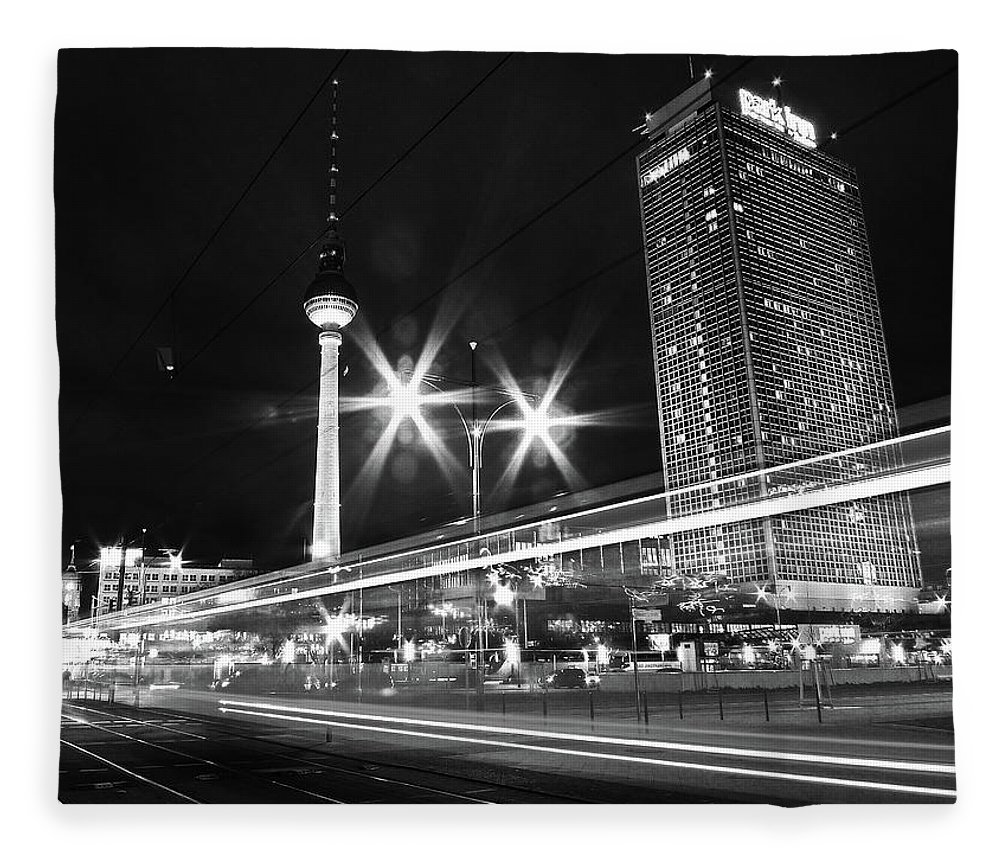 Alexanderplatz Fleece Blanket featuring the photograph Berlin Alexanderplatz At Night by Bernd Schunack