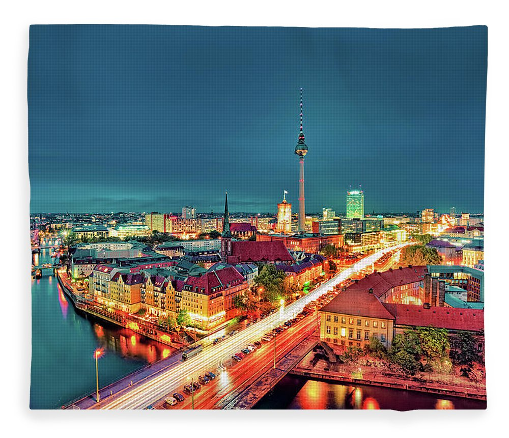 Alexanderplatz Fleece Blanket featuring the photograph Berlin City At Night by Matthias Haker Photography