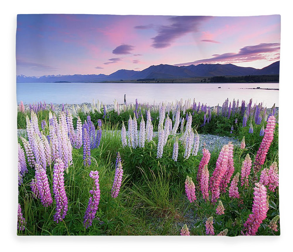 Dawn Fleece Blanket featuring the photograph Berry Dawn At Lake Tekapo, New Zealand by Atomiczen