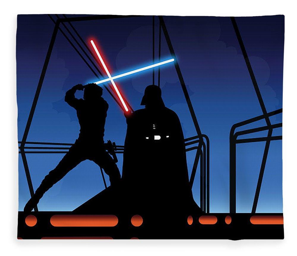 Darth Vader Fleece Blanket featuring the digital art Bespin Duel by Nathan Shegrud