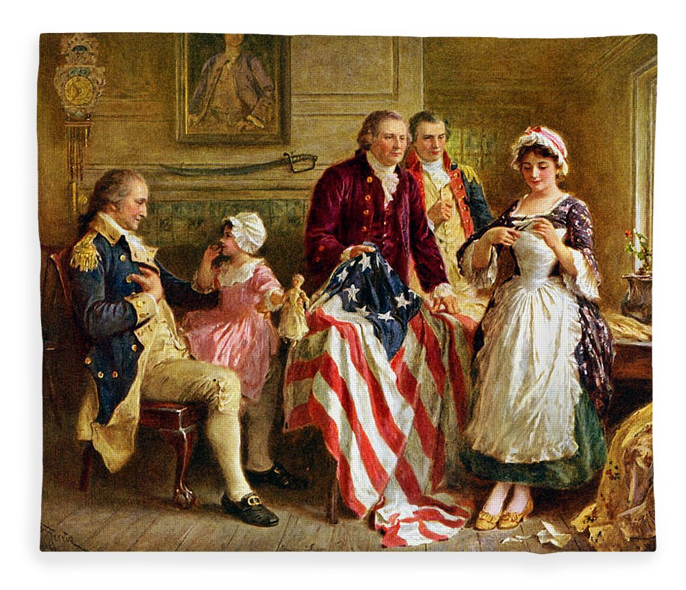 George Washington Fleece Blanket featuring the painting Betsy Ross And General George Washington by War Is Hell Store