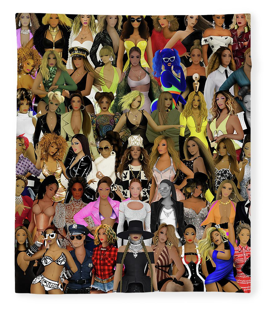 Beyonce Fleece Blanket featuring the digital art Beyonce - Collage by Bo Kev