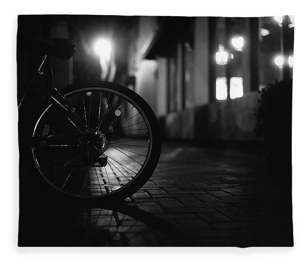 Shadow Fleece Blanket featuring the photograph Bicycle In Dark Street by Satoshi Otani