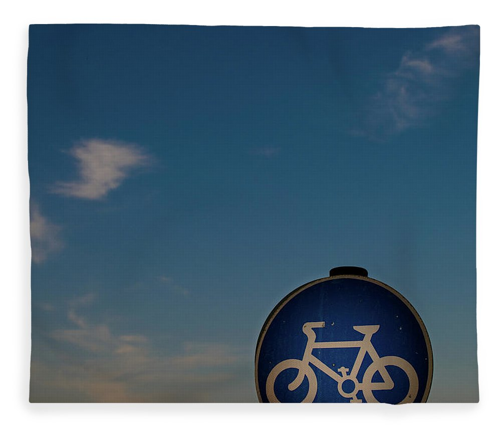 Outdoors Fleece Blanket featuring the photograph Bicycle Sign With Sky by Photography By Stuart Mackenzie (disco~stu)