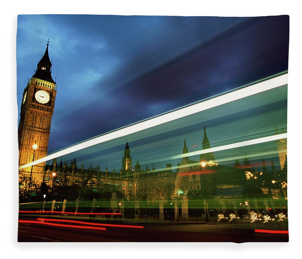 Gothic Style Fleece Blanket featuring the photograph Big Ben And The Houses Of Parliament by Allan Baxter