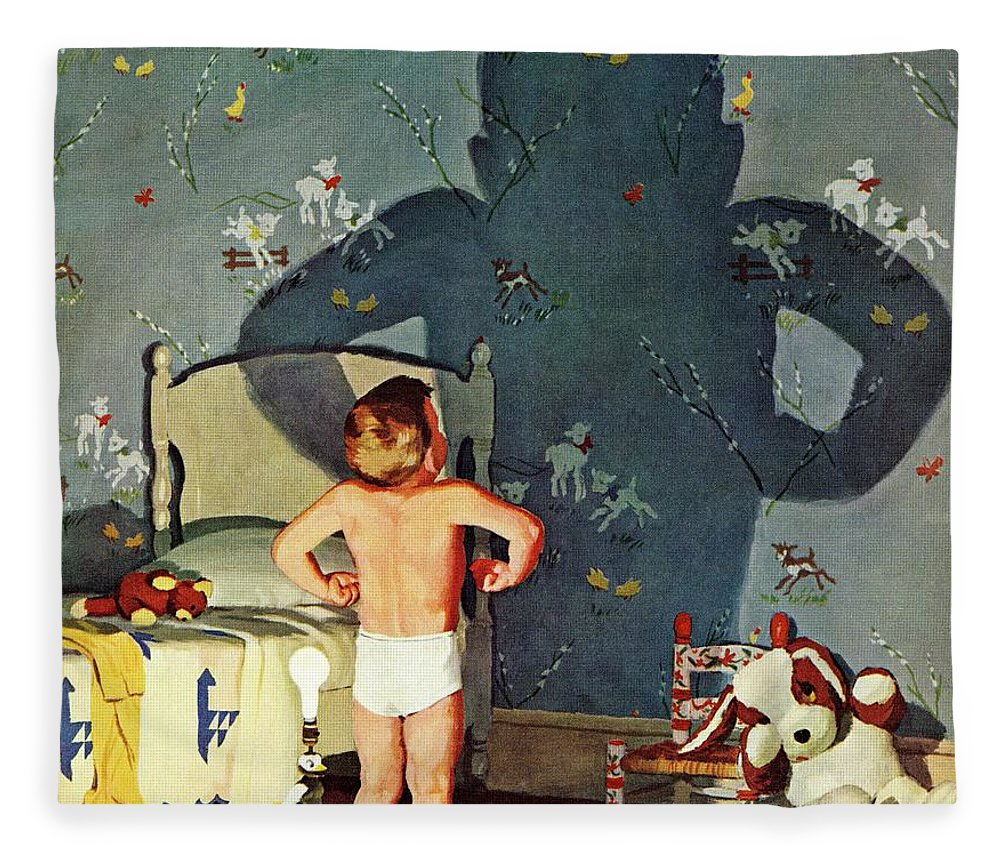 Boys Fleece Blanket featuring the drawing Big Shadow, Little Boy by Richard Sargent