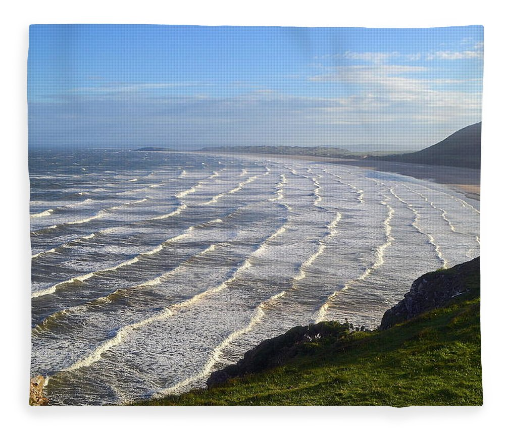 Gower Peninsular Fleece Blanket featuring the photograph Big Waves At Rhossili Beach by Photo By Andrew Boxall
