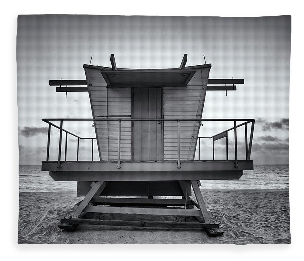 Outdoors Fleece Blanket featuring the photograph Black And White Lifeguard Stand In by Boogich