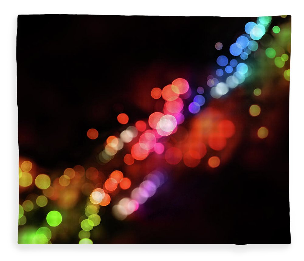 Funky Fleece Blanket featuring the photograph Black Background With Dots Of Varying by Skystardream