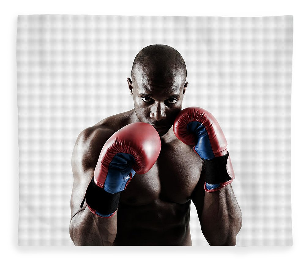 People Fleece Blanket featuring the photograph Black Male Boxer In Boxing Stance by Mike Harrington