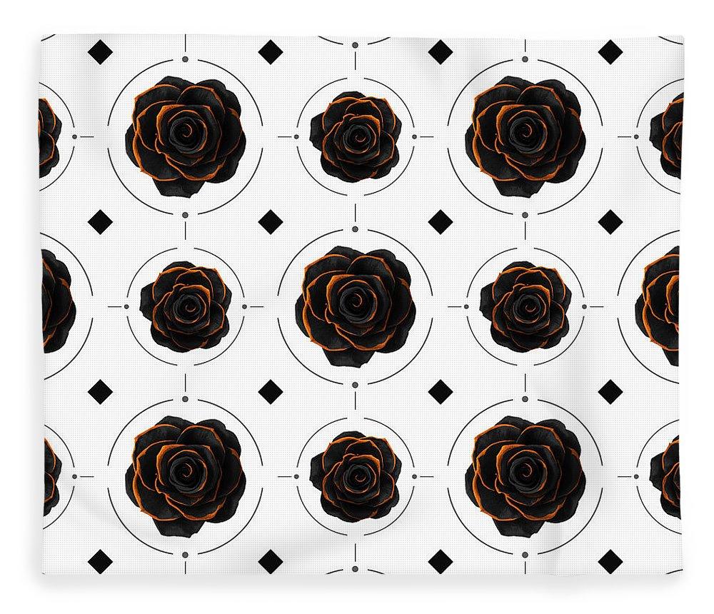 Black Rose Fleece Blanket featuring the mixed media Black Rose Pattern - Black And Gold Rose - Death - Minimal Black And Gold Decor - Dark 3 by Studio Grafiikka