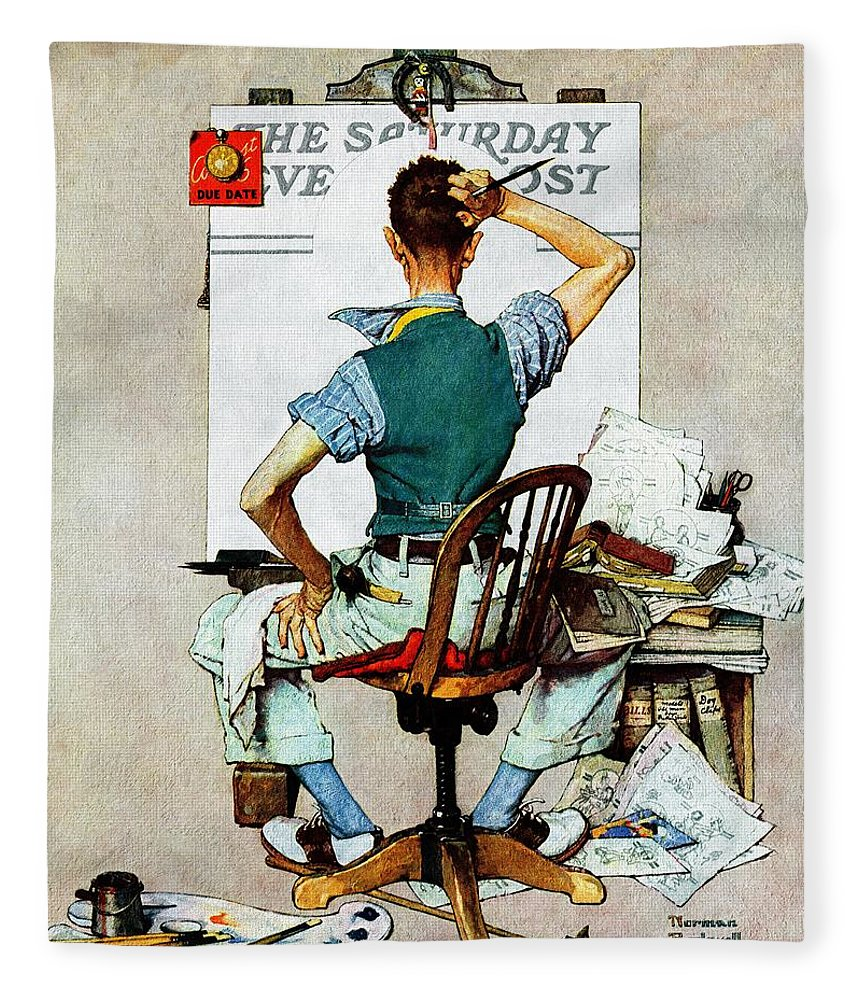 Artists Fleece Blanket featuring the drawing blank Canvas by Norman Rockwell