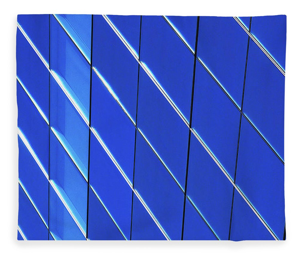 Outdoors Fleece Blanket featuring the photograph Blue Glass Modern Building by Joelle Icard