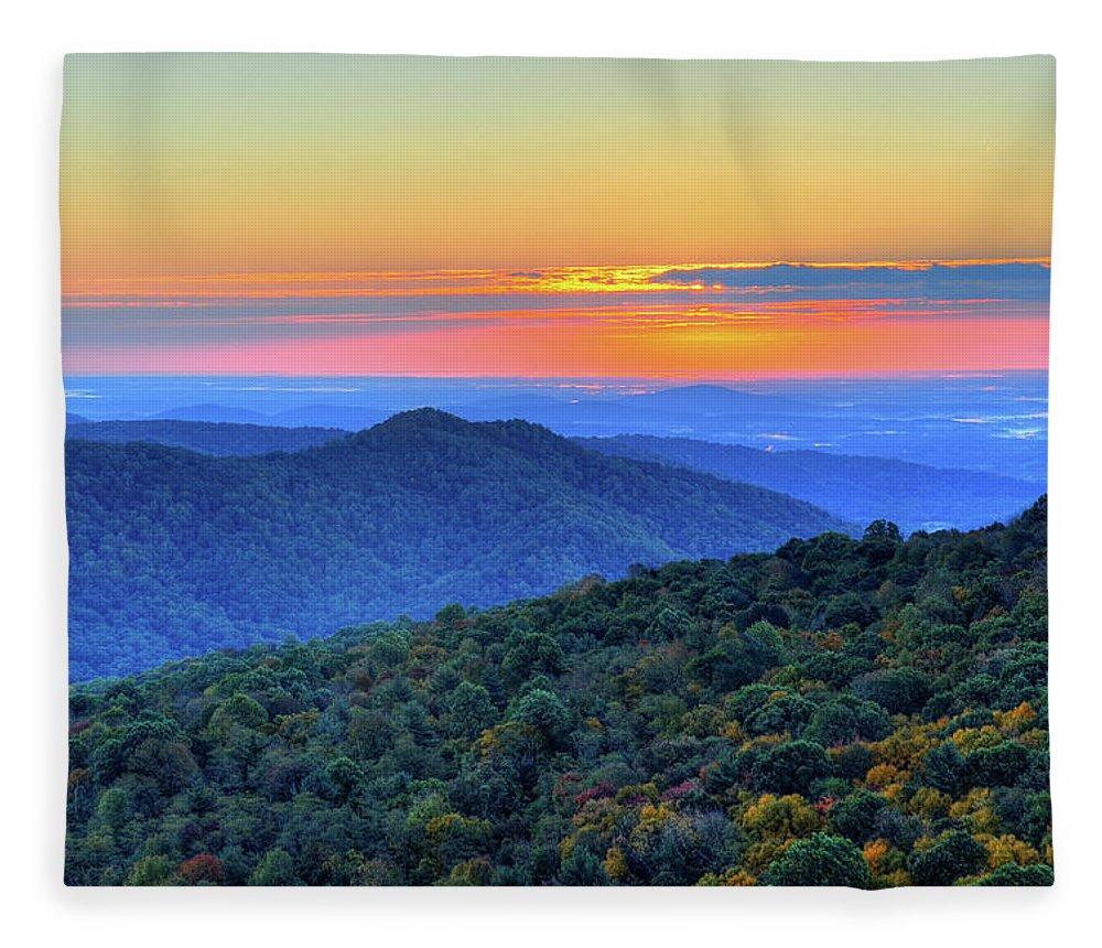Scenics Fleece Blanket featuring the photograph Blue Ridge Mountains by Nikographer [jon]