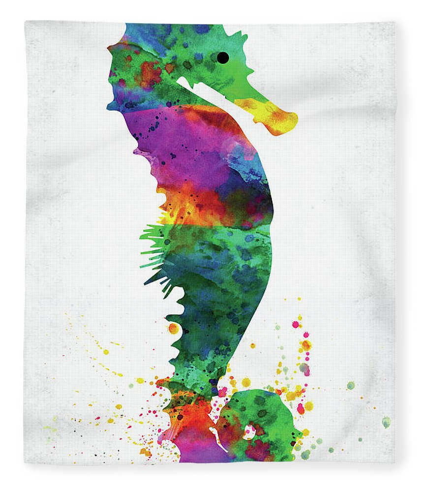 Seahorse Fleece Blanket featuring the digital art Blue Seahorse Watercolor by Mihaela Pater
