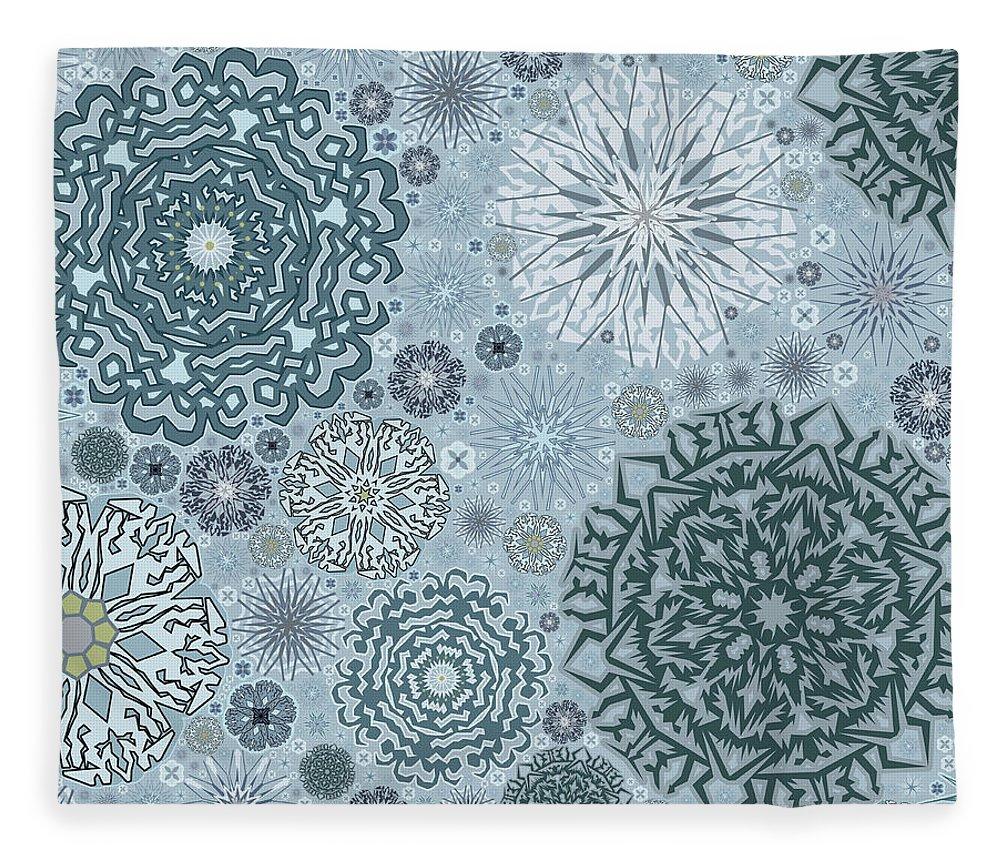 Art Fleece Blanket featuring the digital art Blue Snowflake Pattern by Bodhi Hill