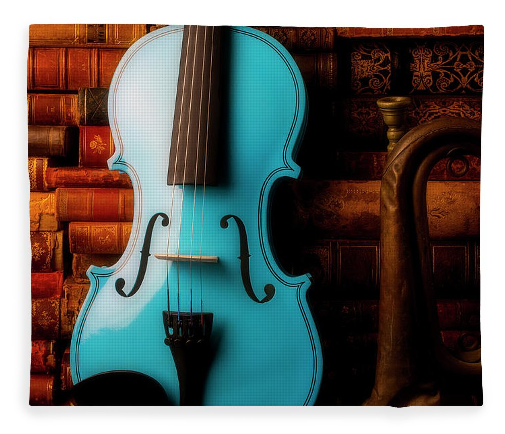 Book Fleece Blanket featuring the photograph Blue Violin And Old Books by Garry Gay