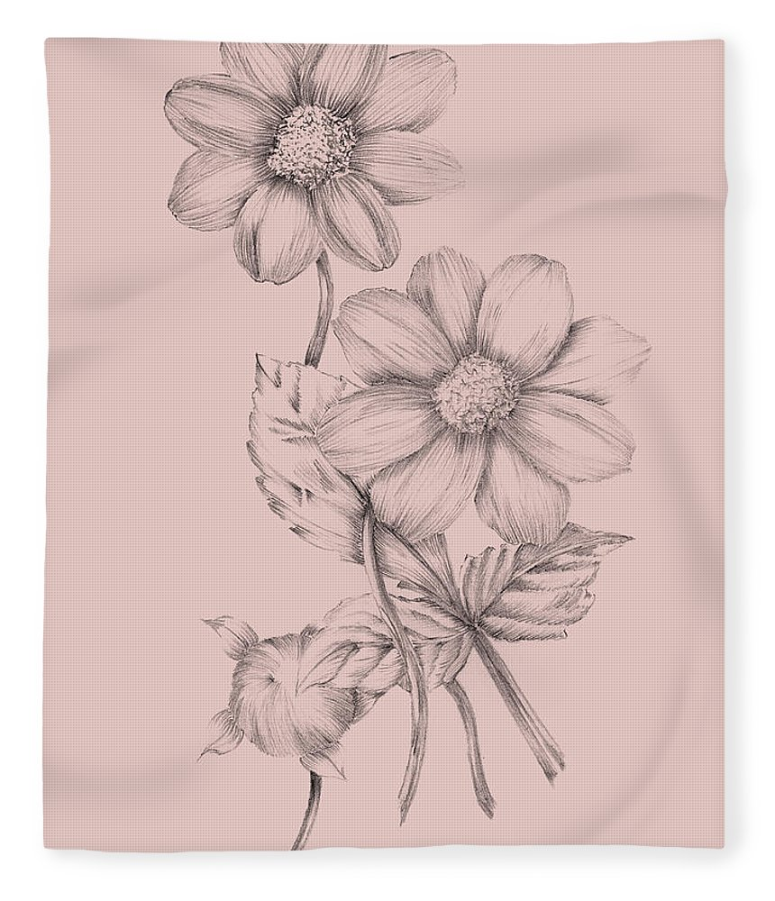Flower Fleece Blanket featuring the mixed media Blush Pink Flower Sketch by Naxart Studio