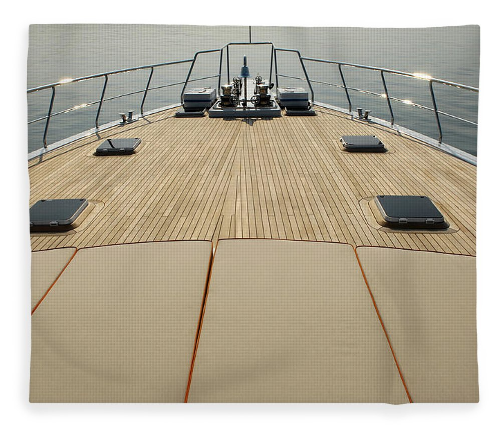 Seascape Fleece Blanket featuring the photograph Boat Deck by 1001nights
