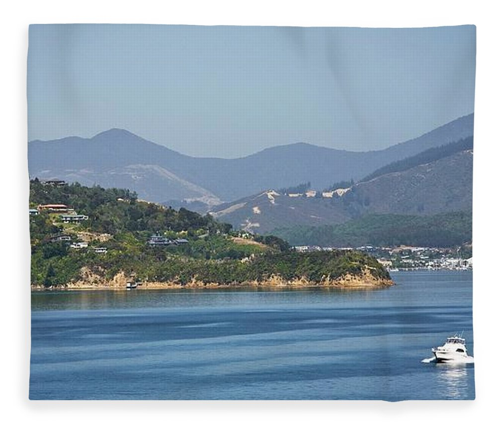 Panoramic Fleece Blanket featuring the photograph Boat On Water, Queen Charlotte Sound by Design Pics / John Doornkamp