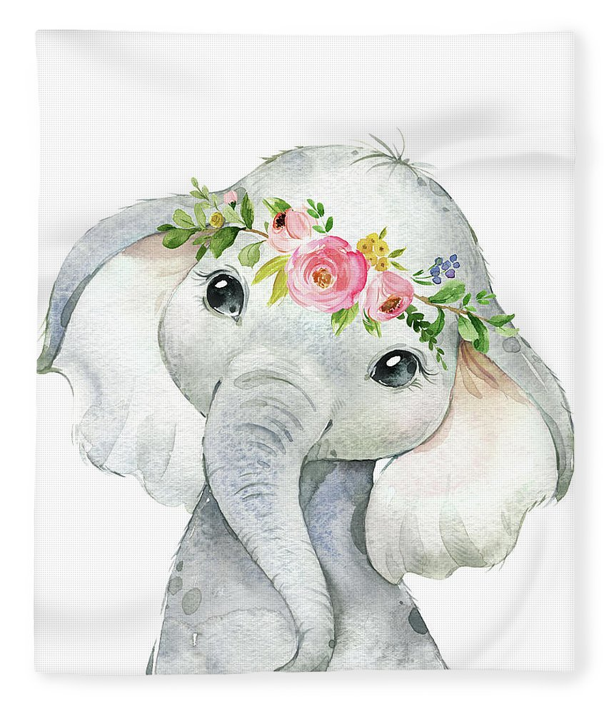 Elephant Fleece Blanket featuring the digital art Boho Elephant by Pink Forest Cafe