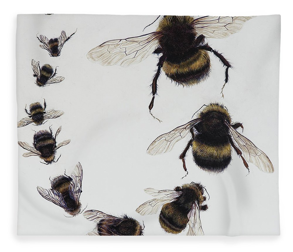 Nature Fleece Blanket featuring the painting Bombus by Odile Kidd