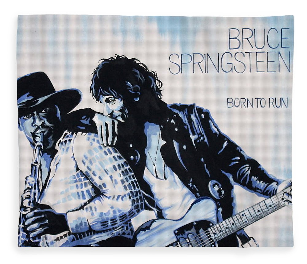 Bruce Springsteen Fleece Blanket featuring the painting Born to Run Bruce Springsteen by Amy Belonio