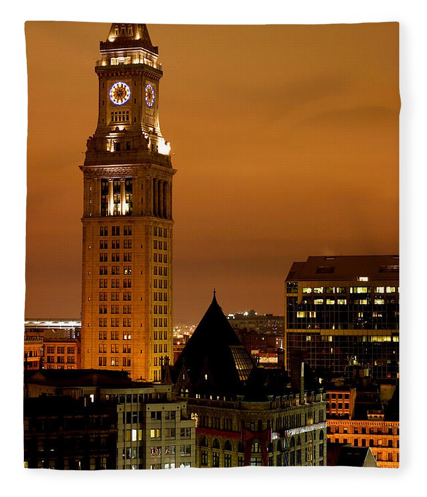 Scenics Fleece Blanket featuring the photograph Boston Clock Tower - Custom House by Jsmith
