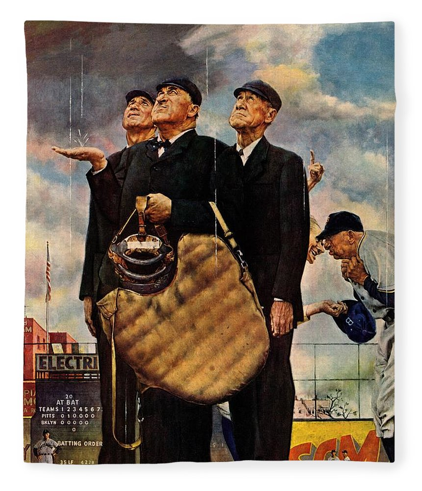 Baseball Fleece Blanket featuring the drawing Bottom Of The Sixth by Norman Rockwell