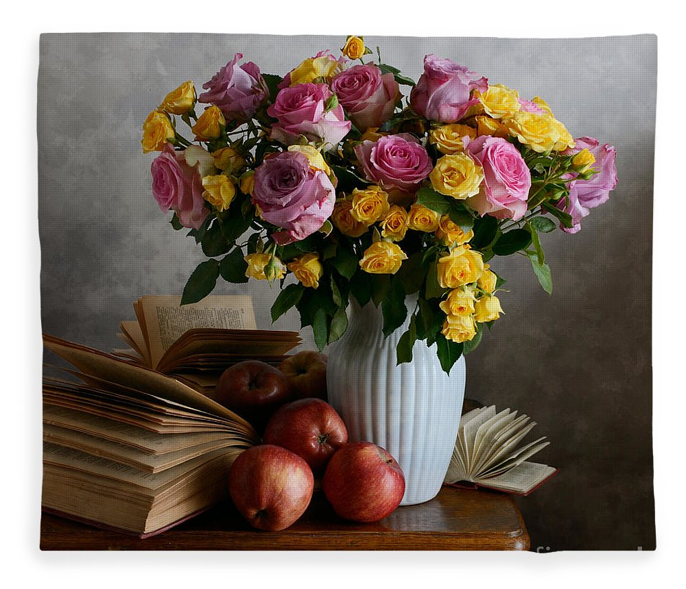Vase Fleece Blanket featuring the photograph Bouquet Of Flowers In White Vase by Nikolay Panov