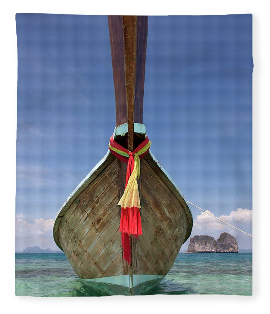 Andaman Sea Fleece Blanket featuring the photograph Bow Of A Long-tailed Boat, Thailand by Enviromantic