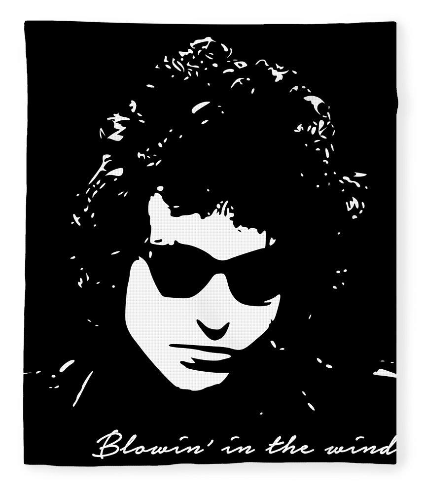 Bob Dylan Fleece Blanket featuring the digital art Bowin' In The Wind by Filip Schpindel