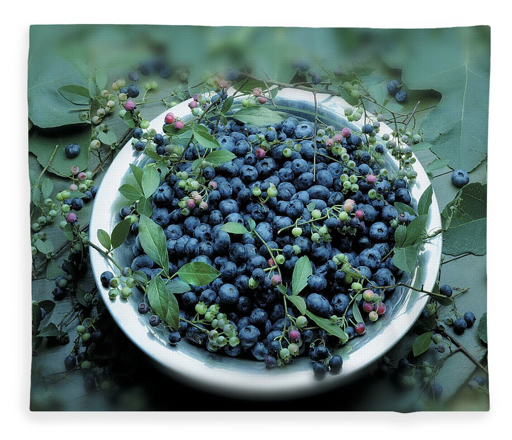 Crockery Fleece Blanket featuring the photograph Bowl Of Blueberries by Atu Images