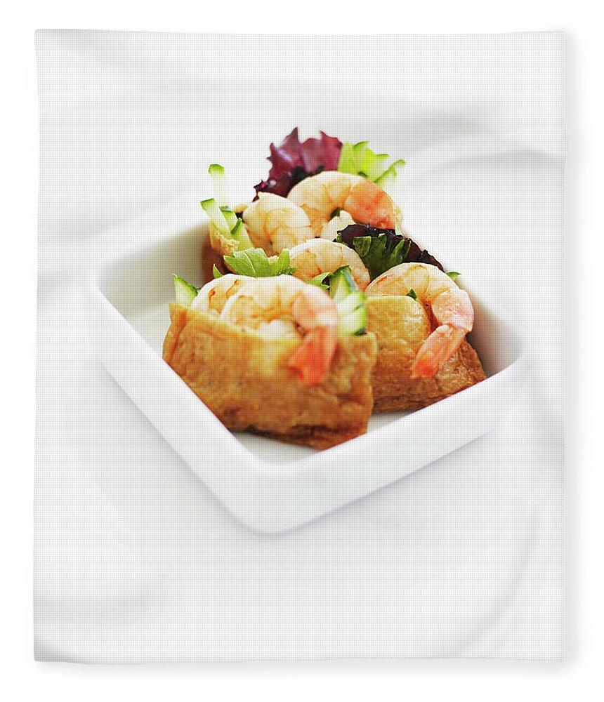 Dumpling Fleece Blanket featuring the photograph Bowl Of Prawn Dumpling Appetisers by Thomas Barwick