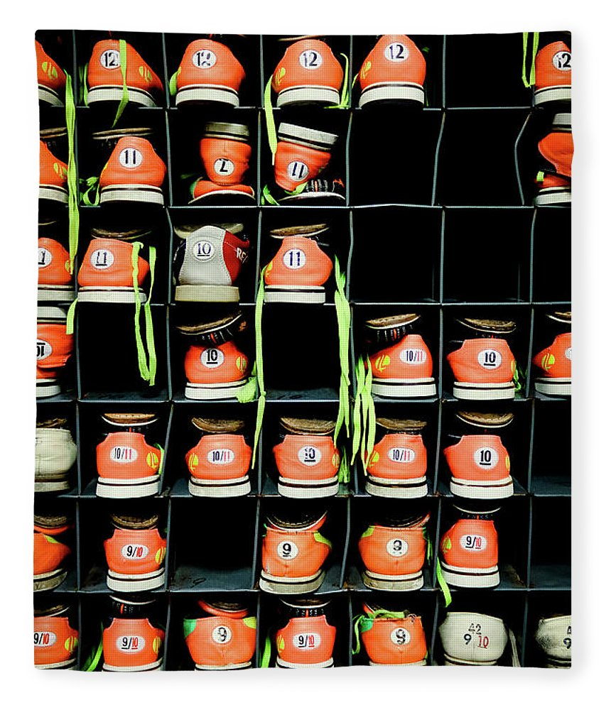 Orange Color Fleece Blanket featuring the photograph Bowling Shoes by Christian Bird
