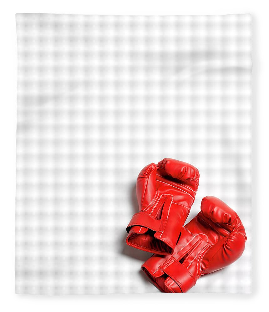The End Fleece Blanket featuring the photograph Boxing Gloves On White Background by Peter Dazeley