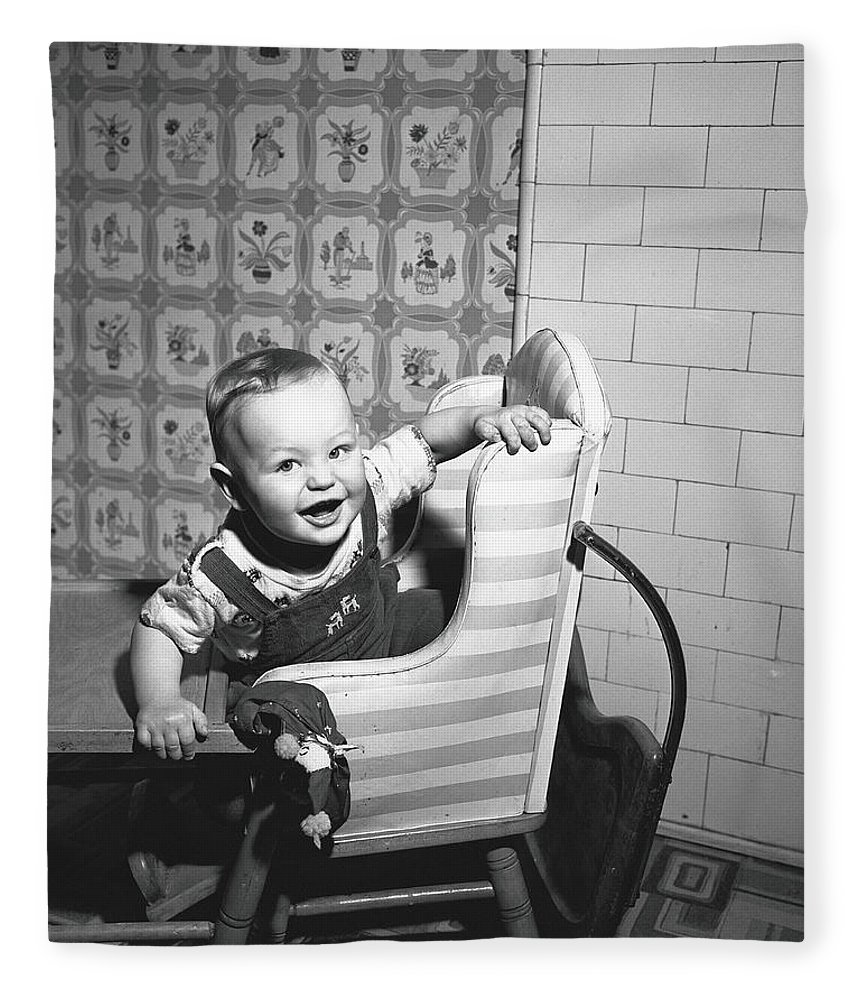 Child Fleece Blanket featuring the photograph Boy 2-3 Sitting In High Chair, B&w by George Marks
