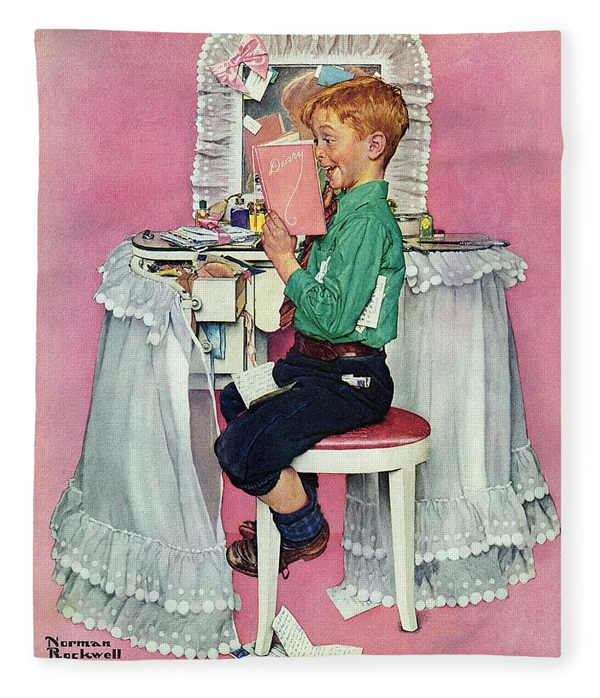 Boy Fleece Blanket featuring the drawing boy Reading His Sister's Diary by Norman Rockwell