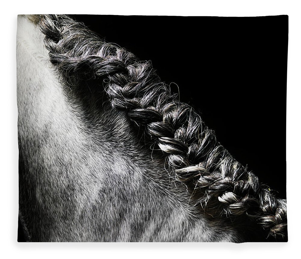 Horse Fleece Blanket featuring the photograph Braided Mane Of Grey Horse by Henrik Sorensen