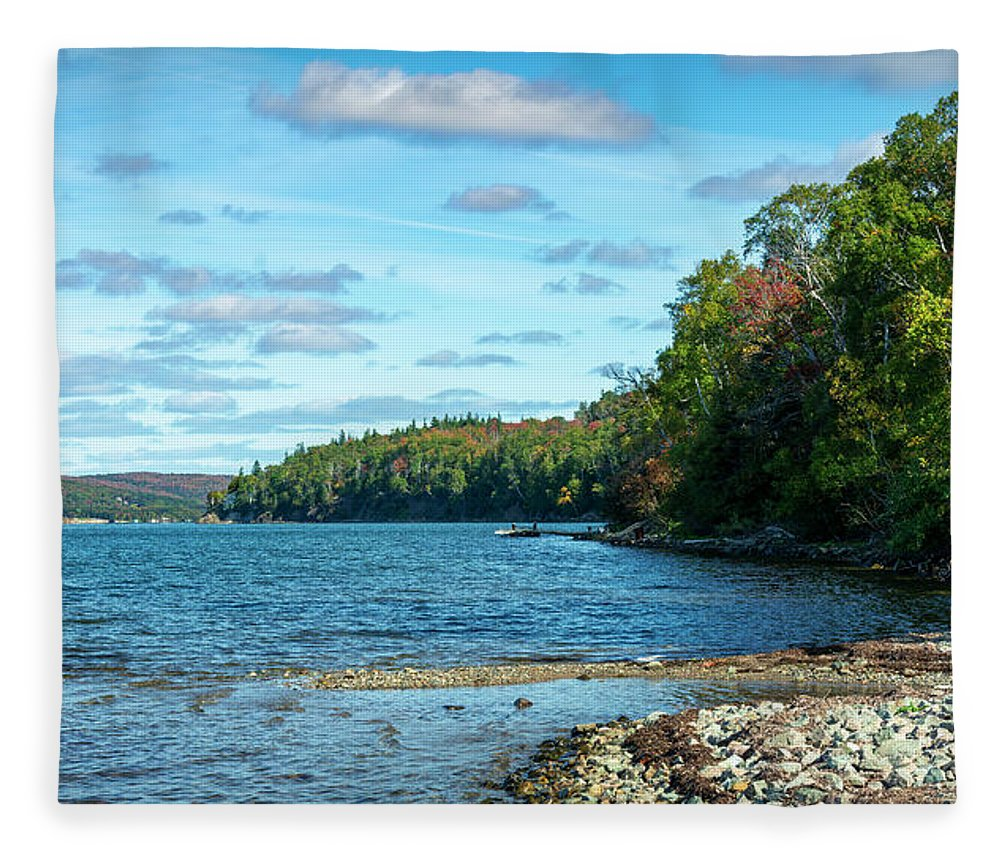 Autumn Fleece Blanket featuring the digital art Bras D'or Lake, Cape Breton Nova Scotia, Canada by Ken Morris