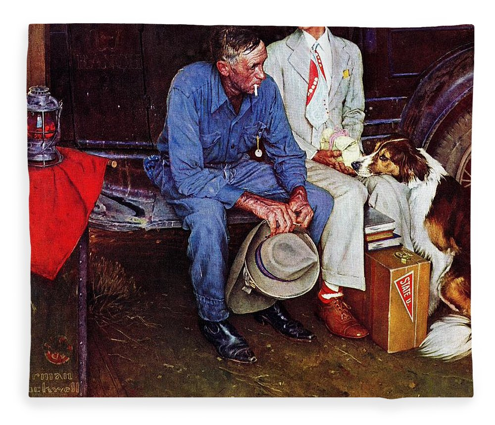 College Fleece Blanket featuring the drawing Breaking Home Ties by Norman Rockwell