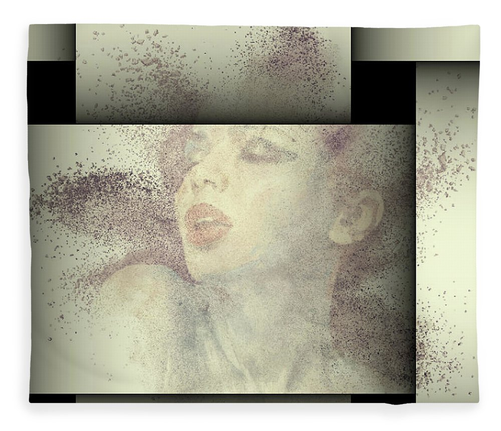 Contemporary.modern Fleece Blanket featuring the mixed media Breathtaking Explosion by G Berry