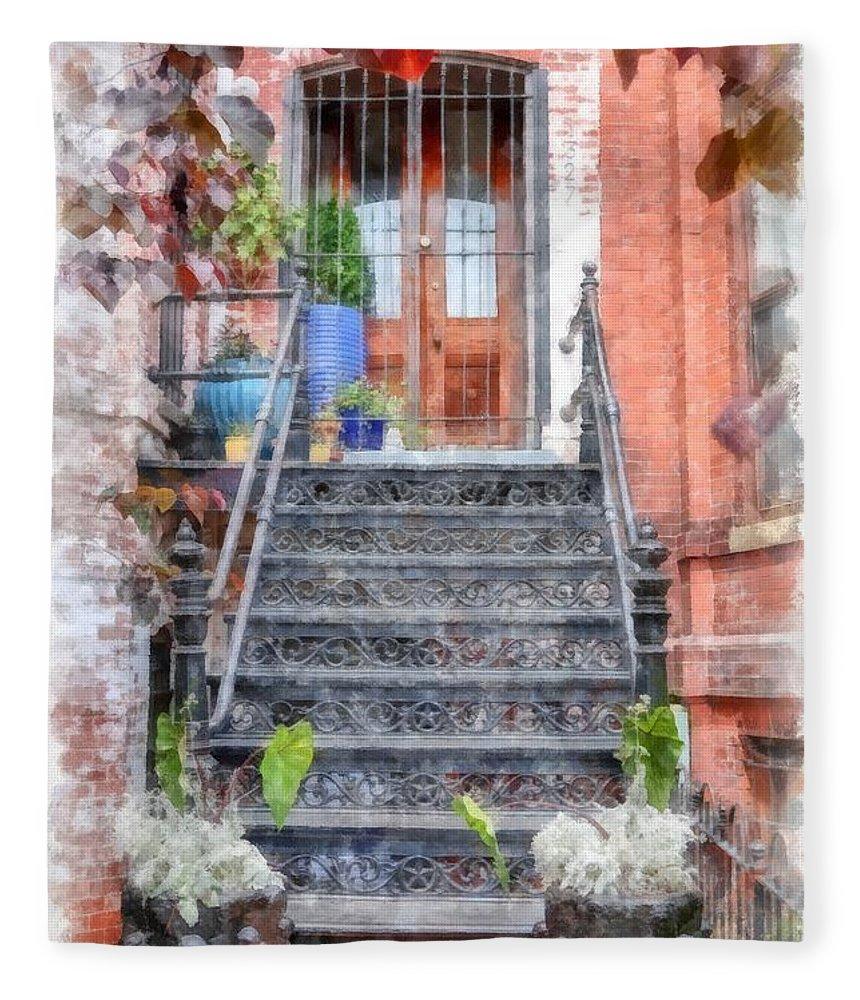 Stairs Fleece Blanket featuring the digital art Brick Townhouse Walkup Watercolor by Edward Fielding